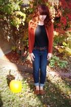 burnt orange Target cardigan - American Eagle jeans - black Target t-shirt