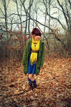 blue Target dress - dark brown Forever21 boots - army green Target coat