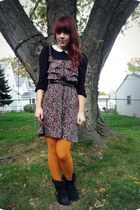 modcloth tights - Forever21 boots - Target dress - Target belt - asos blouse