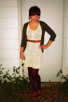 Gap tights - modcloth dress - Target cardigan - Target clogs - vintage belt