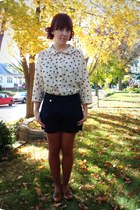 Forever21 blouse - Gap tights - navy Forever21 shorts