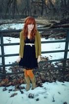 olive green Forever21 cardigan - tan Target boots - black Target dress
