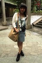 white gift shirt - black Forever 21 boots - mustard slingbag Topshop bag