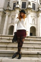 gold Abataba necklace - white romwe sweater - crimson pull&bear skirt