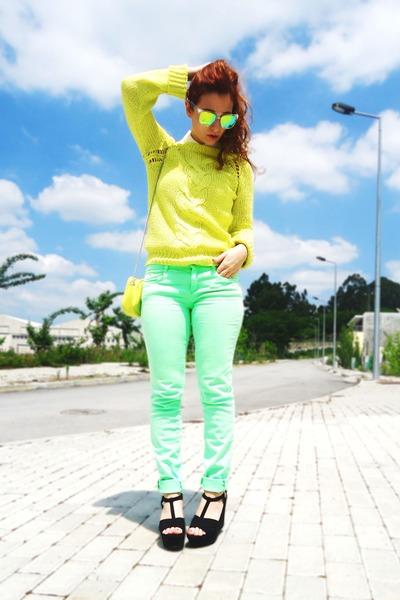 light yellow Zara sweater - aquamarine Zara pants - white PartyGlasses glasses
