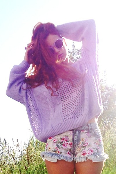 She Inside sweater - beginning boutique shorts - romwe glasses
