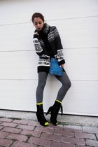 black Pull &amp; Bear cardigan - black Parfois boots - blue bag - yellow BLANCO sock