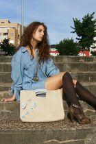 blue H&M men shirt - beige DIY wallet - brown Sfera shoes