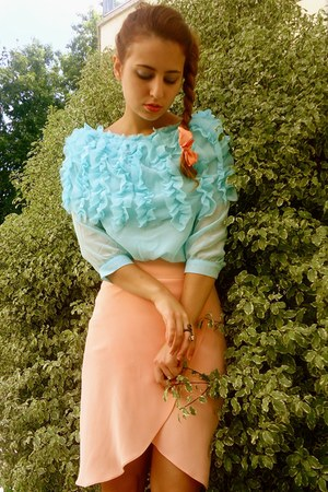 salmon Felipe Varela skirt - aquamarine wholesale-dressnet shirt