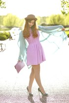 amethyst beginning boutique dress - camel romwe hat - aquamarine romwe jacket