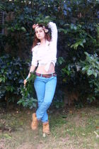white Pull & Bear shirt - blue Pull & Bear pants - yellow Timberland blouse - bl