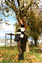 beige Bershka sweater - black H&M skirt - black accessories tights - black Parfo