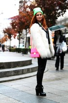 white Zara coat - black Choies boots