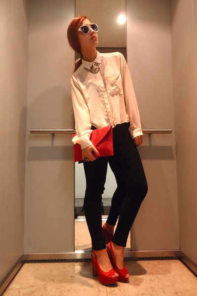 neutral H&M shirt - ruby red Sfera bag - ruby red Mango heels