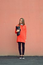 red asos sweater - black Stradivarius shoes