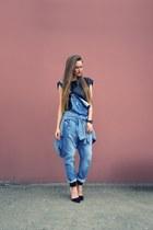 sky blue asos romper - black Zara heels