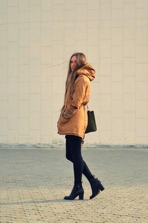 tawny Bershka jacket - black Zara boots