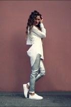 white no brand shirt - silver no brand pants - white asos sneakers