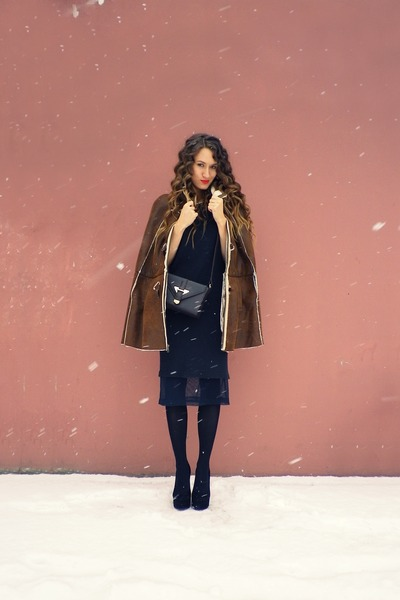 brown asos coat - dark brown Topshop bag