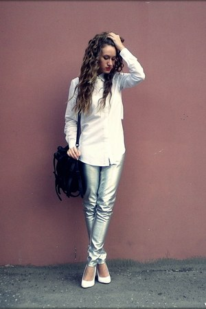 white no brand shoes - white unknown brand shirt - silver unknown pants