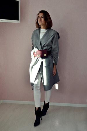 heather gray Zara coat - black Mango boots - crimson asos belt