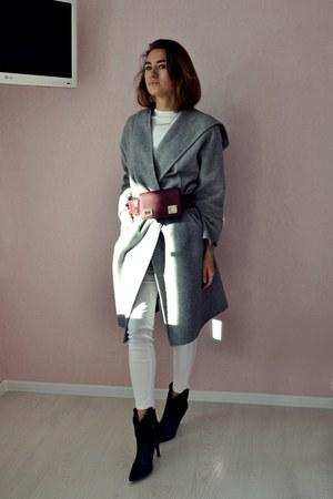 heather gray Zara coat - black Mango boots - crimson asos belt