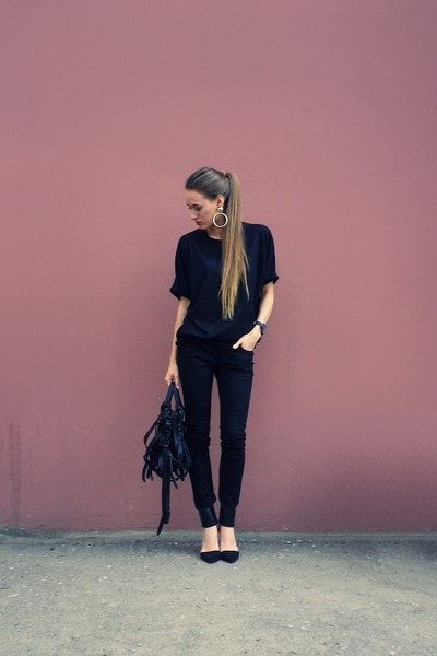 black nowIStyle top - gold H&M earrings - black Zara heels