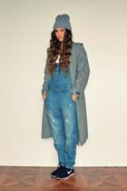 heather gray Zara coat - sky blue asos romper - black nike sneakers