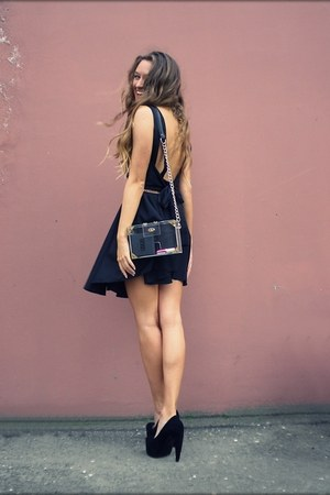 black romwe dress - white no brand bag - black no brand pumps