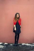black Mango boots - black romwe dress