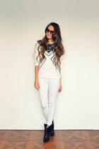 white H&M jeans - black Mango boots - white H&M top