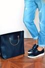 Black-mango-bag-sky-blue-asos-romper-black-stradivarius-loafers