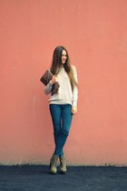 teal pull&bear jeans - light pink H&M sweater
