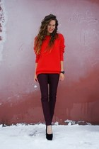 red asos sweater - crimson Massimo Dutti jeans - black Taobao pumps
