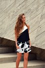 White-zara-shorts-black-asos-top