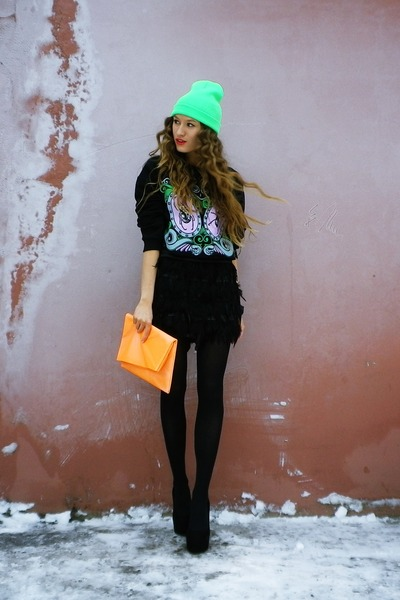 aquamarine unknown hat - light orange DIY bag - black unknown brand heels