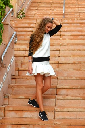 white asos skirt - white Zara sweatshirt - black nike sneakers