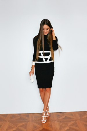 white Aldo bag - black asos dress - white asos belt - white asos sandals