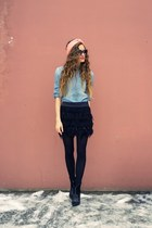 black feather oodji skirt - black Mango boots - sky blue denim Mango shirt
