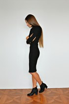 black Zara boots - black asos dress - light pink Cheap Monday bracelet