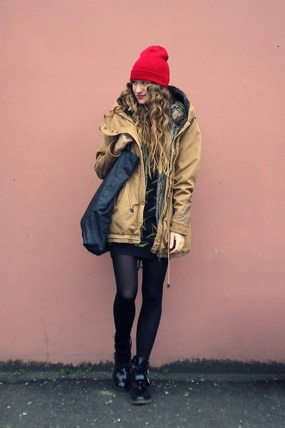 Bershka jacket - asos boots - Cheap Monday bag