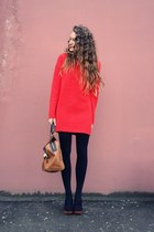 red asos sweater - tawny asos bag