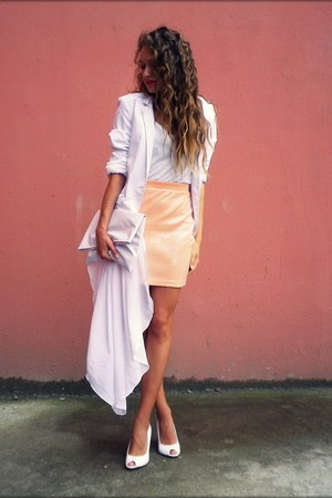 white unknown shoes - white unknown blazer - white DIY bag - peach H&M skirt