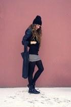 black asos boots - black Cheap Monday bag - white striped H&M skirt