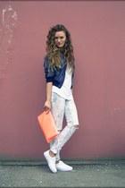 white asos sneakers - ivory unknown brand jeans - navy Bershka jacket