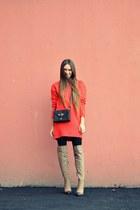 red asos sweater - dark brown Topshop bag
