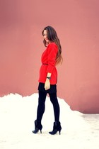 black Mango boots - red asos sweater