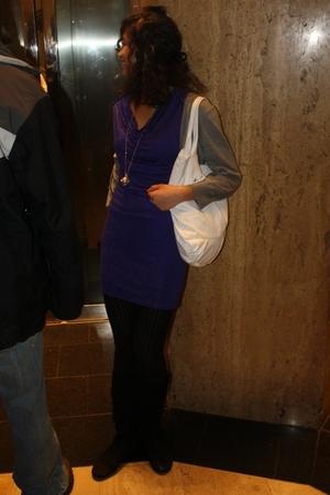 purple Zara dress - gold Betsey Johnson necklace - white Volcom Stone purse - bl