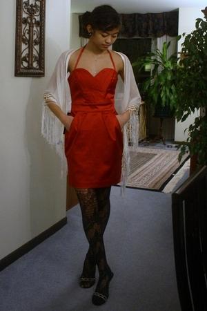 red Bebe dress - white Oscar de la Renta scarf - black Betsey Johnson earrings -