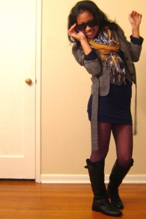 blazer - vest - dress - scarf - socks - boots